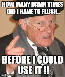 Back In My Day Meme | HOW MANY DAMN TIMES DID I HAVE TO FLUSH.. BEFORE I COULD USE IT !! | image tagged in memes,back in my day | made w/ Imgflip meme maker