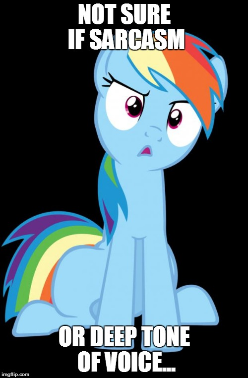 Confused Rainbow Dash | NOT SURE IF SARCASM OR DEEP TONE OF VOICE... | image tagged in confused rainbow dash | made w/ Imgflip meme maker
