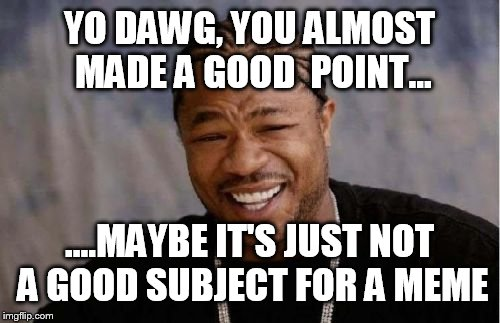 Yo dawg, you can be relevant and funny | YO DAWG, YOU ALMOST MADE A GOOD  POINT... ....MAYBE IT'S JUST NOT A GOOD SUBJECT FOR A MEME | image tagged in memes,yo dawg heard you,relevance,funny | made w/ Imgflip meme maker
