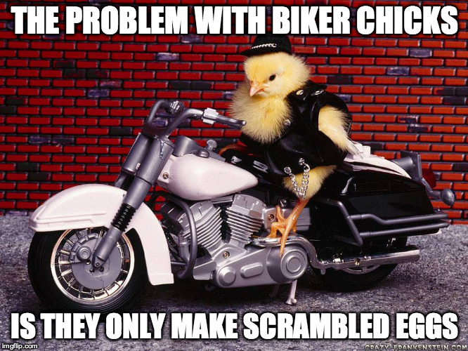 Biker Chick | THE PROBLEM WITH BIKER CHICKS IS THEY ONLY MAKE SCRAMBLED EGGS | image tagged in bikers,chick,egg,funny,motorcycle | made w/ Imgflip meme maker