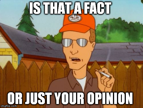 Dale Grible smoking | IS THAT A FACT OR JUST YOUR OPINION | image tagged in dale grible smoking | made w/ Imgflip meme maker