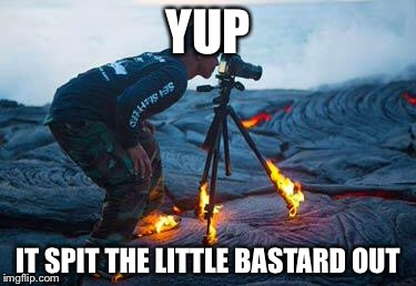 Volcano | YUP IT SPIT THE LITTLE BASTARD OUT | image tagged in volcano | made w/ Imgflip meme maker