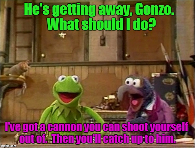 He's getting away, Gonzo.  What should I do? I've got a cannon you can shoot yourself out of.  Then you'll catch up to him. | made w/ Imgflip meme maker