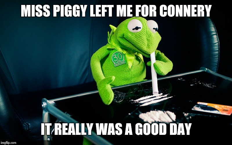 Kermit | MISS PIGGY LEFT ME FOR CONNERY IT REALLY WAS A GOOD DAY | image tagged in kermit | made w/ Imgflip meme maker