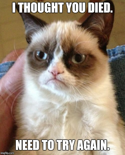 Grumpy Cat Meme | I THOUGHT YOU DIED. NEED TO TRY AGAIN. | image tagged in memes,grumpy cat | made w/ Imgflip meme maker
