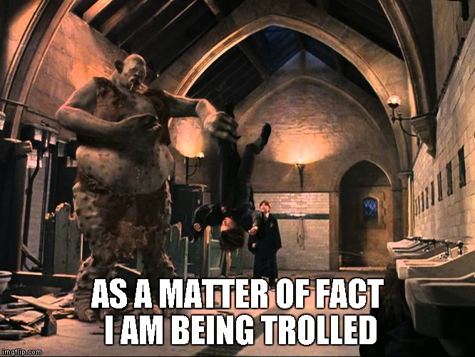Harry Potter Troll | AS A MATTER OF FACT I AM BEING TROLLED | image tagged in harry potter troll | made w/ Imgflip meme maker