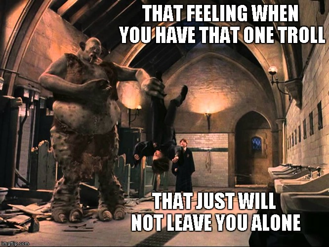 I have at least one troll that downvotes EVERYTHING I do...no worries tho'. That just tells me I'm doing something right. | THAT FEELING WHEN YOU HAVE THAT ONE TROLL THAT JUST WILL NOT LEAVE YOU ALONE | image tagged in harry potter troll,trolling,harry potter,funny,downvote fairy | made w/ Imgflip meme maker