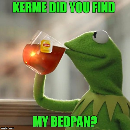 Kerme | KERME DID YOU FIND MY BEDPAN? | image tagged in memes,kermit the frog,fuuny,drink,laugh,frog | made w/ Imgflip meme maker