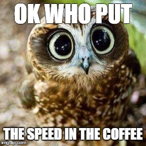 Coffee on speed | OK WHO PUT THE SPEED IN THE COFFEE | image tagged in coffee addict | made w/ Imgflip meme maker