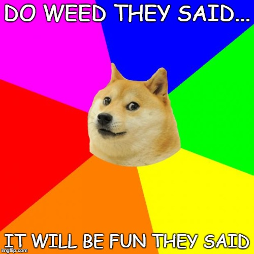 Advice Doge | DO WEED THEY SAID... IT WILL BE FUN THEY SAID | image tagged in memes,advice doge | made w/ Imgflip meme maker