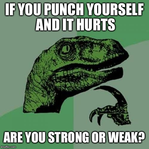 Philosoraptor Meme | IF YOU PUNCH YOURSELF AND IT HURTS ARE YOU STRONG OR WEAK? | image tagged in memes,philosoraptor | made w/ Imgflip meme maker