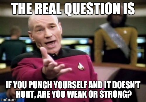 Picard Wtf Meme | THE REAL QUESTION IS IF YOU PUNCH YOURSELF AND IT DOESN'T HURT, ARE YOU WEAK OR STRONG? | image tagged in memes,picard wtf | made w/ Imgflip meme maker