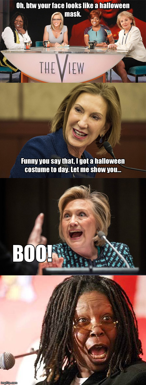 Oh btw, Boo! | image tagged in memes,shocked,spooky,republican,democrats,carly fiorina | made w/ Imgflip meme maker