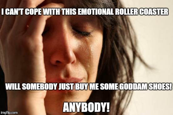 First World Problems Meme | I CAN'T COPE WITH THIS EMOTIONAL ROLLER COASTER WILL SOMEBODY JUST BUY ME SOME GODDAM SHOES! ANYBODY! | image tagged in memes,first world problems | made w/ Imgflip meme maker