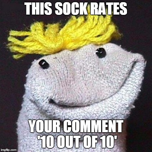 THIS SOCK RATES YOUR COMMENT '10 OUT OF 10' | made w/ Imgflip meme maker
