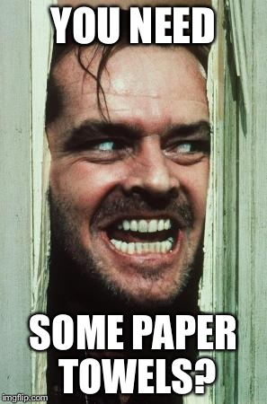 Heres Johnny | YOU NEED SOME PAPER TOWELS? | image tagged in memes,heres johnny | made w/ Imgflip meme maker