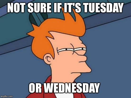 Futurama Fry Meme | NOT SURE IF IT'S TUESDAY OR WEDNESDAY | image tagged in memes,futurama fry | made w/ Imgflip meme maker