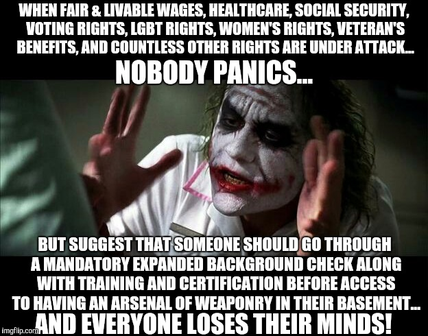 The 2nd Amendent isn't under attack... but other things are... | WHEN FAIR & LIVABLE WAGES, HEALTHCARE, SOCIAL SECURITY, VOTING RIGHTS, LGBT RIGHTS, WOMEN'S RIGHTS, VETERAN'S BENEFITS, AND COUNTLESS OTHER  | image tagged in gun control,joker mind loss,stupid people,conservatives,republicans | made w/ Imgflip meme maker