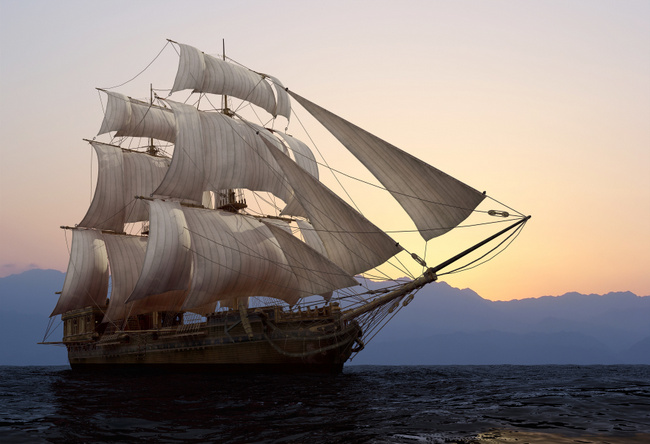 Tall ship at sunset blank template imgflip for Pirate ship sails template