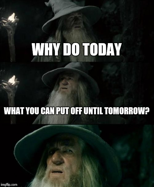 Confused Gandalf Meme | WHY DO TODAY WHAT YOU CAN PUT OFF UNTIL TOMORROW? | image tagged in memes,confused gandalf | made w/ Imgflip meme maker