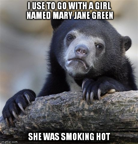 Confession Bear Meme | I USE TO GO WITH A GIRL NAMED MARY JANE GREEN SHE WAS SMOKING HOT | image tagged in memes,confession bear | made w/ Imgflip meme maker