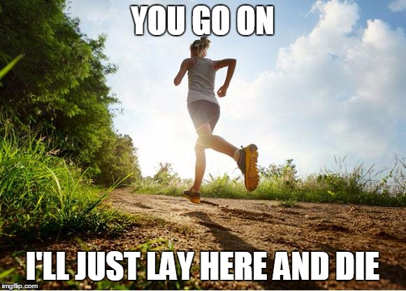 runners high | YOU GO ON I'LL JUST LAY HERE AND DIE | image tagged in runner | made w/ Imgflip meme maker