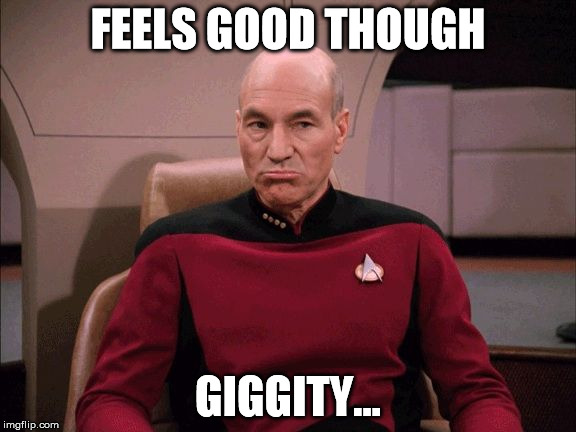 FEELS GOOD THOUGH GIGGITY... | image tagged in picard sad face | made w/ Imgflip meme maker