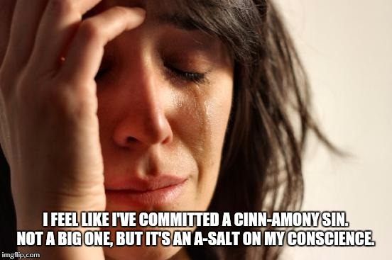First World Problems Meme | I FEEL LIKE I'VE COMMITTED A CINN-AMONY SIN. NOT A BIG ONE, BUT IT'S AN A-SALT ON MY CONSCIENCE. | image tagged in memes,first world problems | made w/ Imgflip meme maker
