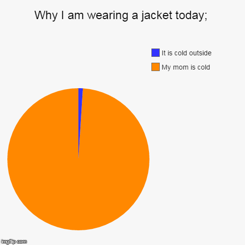 Why I am wearing a jacket today; | My mom is cold, It is cold outside | image tagged in funny,pie charts | made w/ Imgflip pie chart maker