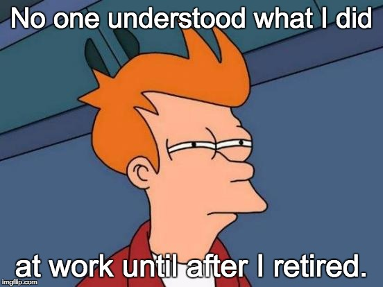Futurama Fry Meme | No one understood what I did at work until after I retired. | image tagged in memes,futurama fry | made w/ Imgflip meme maker