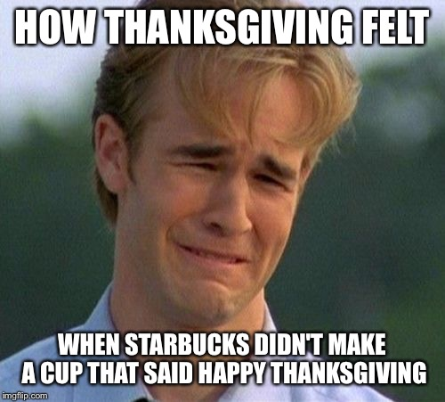 1990s First World Problems | HOW THANKSGIVING FELT WHEN STARBUCKS DIDN'T MAKE A CUP THAT SAID HAPPY THANKSGIVING | image tagged in memes,1990s first world problems | made w/ Imgflip meme maker
