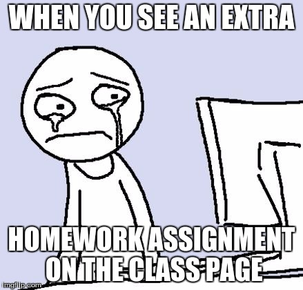 crying computer reaction | WHEN YOU SEE AN EXTRA HOMEWORK ASSIGNMENT ON THE CLASS PAGE | image tagged in crying computer reaction | made w/ Imgflip meme maker