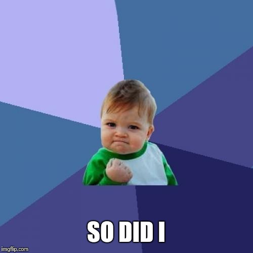 Success Kid Meme | SO DID I | image tagged in memes,success kid | made w/ Imgflip meme maker