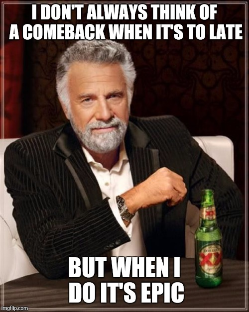 The Most Interesting Man In The World | I DON'T ALWAYS THINK OF A COMEBACK WHEN IT'S TO LATE BUT WHEN I DO IT'S EPIC | image tagged in memes,the most interesting man in the world,comeback,late,epic | made w/ Imgflip meme maker