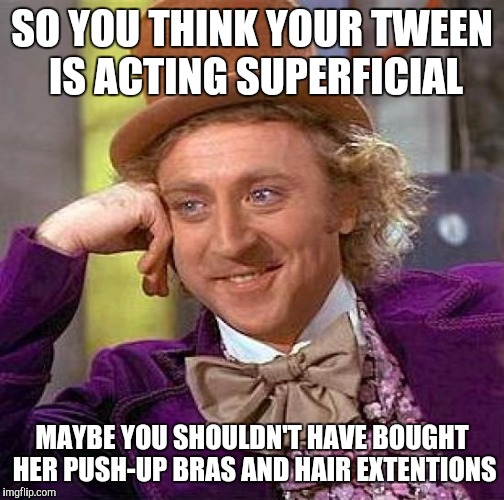 Teach them something else | SO YOU THINK YOUR TWEEN IS ACTING SUPERFICIAL MAYBE YOU SHOULDN'T HAVE BOUGHT HER PUSH-UP BRAS AND HAIR EXTENTIONS | image tagged in memes,creepy condescending wonka,meme,funny memes,funny meme | made w/ Imgflip meme maker