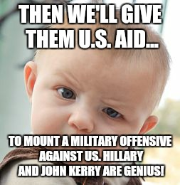Skeptical Baby Meme | THEN WE'LL GIVE THEM U.S. AID... TO MOUNT A MILITARY OFFENSIVE AGAINST US. HILLARY AND JOHN KERRY ARE GENIUS! | image tagged in memes,skeptical baby | made w/ Imgflip meme maker