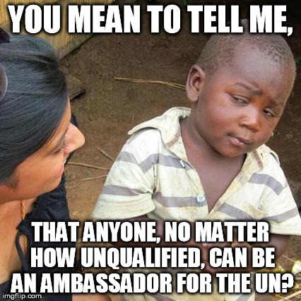 Third World Skeptical Kid Meme | YOU MEAN TO TELL ME, THAT ANYONE, NO MATTER HOW UNQUALIFIED, CAN BE AN AMBASSADOR FOR THE UN? | image tagged in memes,third world skeptical kid | made w/ Imgflip meme maker