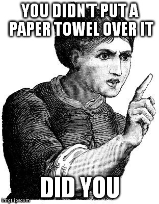 YOU DIDN'T PUT A PAPER TOWEL OVER IT DID YOU | made w/ Imgflip meme maker