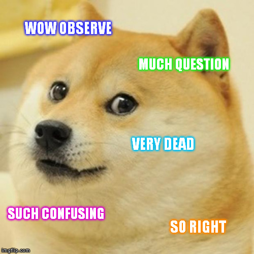 Doge Meme | WOW OBSERVE MUCH QUESTION VERY DEAD SUCH CONFUSING SO RIGHT | image tagged in memes,doge | made w/ Imgflip meme maker