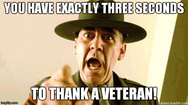 Thanks veterans! | YOU HAVE EXACTLY THREE SECONDS TO THANK A VETERAN! | image tagged in drill instructor,veterans,marines | made w/ Imgflip meme maker