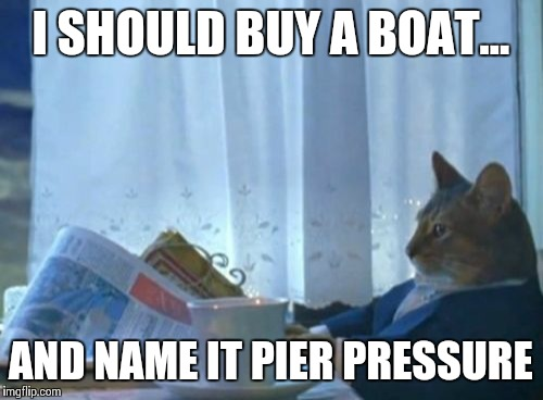 I Should Buy A Boat Cat Meme | I SHOULD BUY A BOAT... AND NAME IT PIER PRESSURE | image tagged in memes,i should buy a boat cat | made w/ Imgflip meme maker