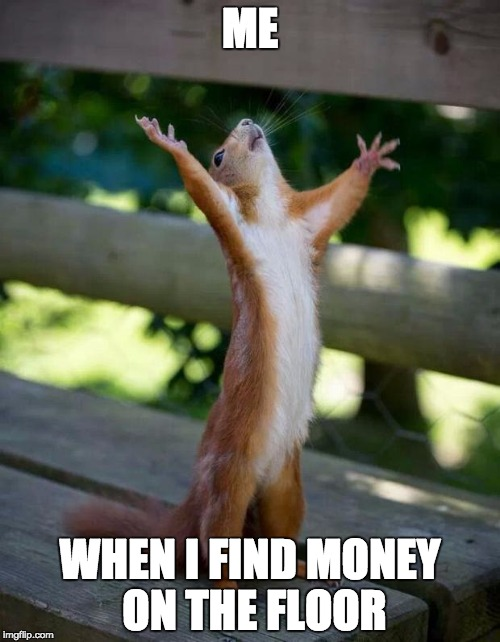 Money, money, money! | ME WHEN I FIND MONEY ON THE FLOOR | image tagged in happy squirrel,money,dollar,pound | made w/ Imgflip meme maker