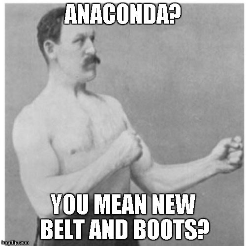 Submissionnnnnnnnnnnnnnnnnnnnnnnn | ANACONDA? YOU MEAN NEW BELT AND BOOTS? | image tagged in overly manly man | made w/ Imgflip meme maker
