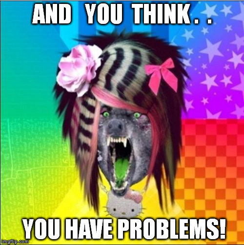 Scene Wolf | AND   YOU  THINK .  . YOU HAVE PROBLEMS! | image tagged in memes,scene wolf | made w/ Imgflip meme maker