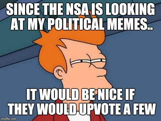 Futurama Fry | SINCE THE NSA IS LOOKING AT MY POLITICAL MEMES.. IT WOULD BE NICE IF THEY WOULD UPVOTE A FEW | image tagged in memes,futurama fry | made w/ Imgflip meme maker