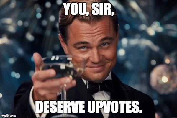 Leonardo Dicaprio Cheers Meme | YOU, SIR, DESERVE UPVOTES. | image tagged in memes,leonardo dicaprio cheers | made w/ Imgflip meme maker