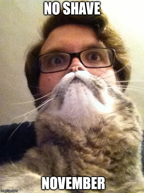 Surprised CatMan | NO SHAVE NOVEMBER | image tagged in memes,surprised catman | made w/ Imgflip meme maker