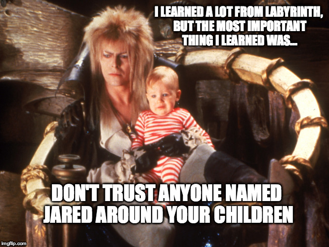 Damn you Jared!!!  | I LEARNED A LOT FROM LABYRINTH, BUT THE MOST IMPORTANT THING I LEARNED WAS... DON'T TRUST ANYONE NAMED JARED AROUND YOUR CHILDREN | image tagged in labyrinth,jared,pedophile,awkward,prophecy | made w/ Imgflip meme maker
