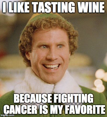 Buddy The Elf Meme | I LIKE TASTING WINE BECAUSE FIGHTING CANCER IS MY FAVORITE | image tagged in memes,buddy the elf | made w/ Imgflip meme maker