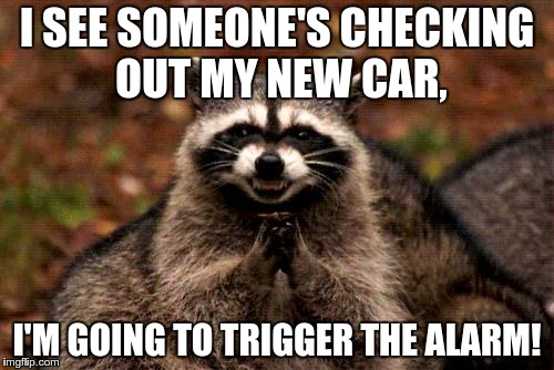 So evil... | I SEE SOMEONE'S CHECKING OUT MY NEW CAR, I'M GOING TO TRIGGER THE ALARM! | image tagged in memes,evil plotting raccoon,evil,troll | made w/ Imgflip meme maker